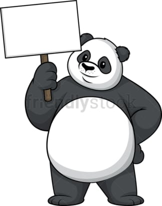 Panda holding empty sign. PNG - JPG and vector EPS (infinitely scalable).