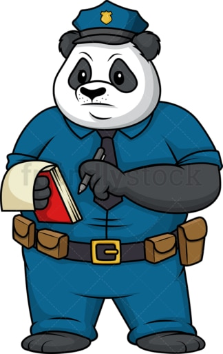 Panda policeman writing ticket. PNG - JPG and vector EPS (infinitely scalable).