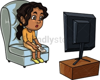 Black girl watching tv. PNG - JPG and vector EPS (infinitely scalable). Image isolated on transparent background.