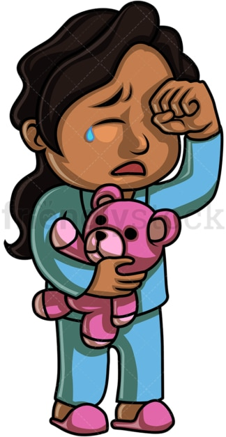 Black little girl crying. PNG - JPG and vector EPS (infinitely scalable). Image isolated on transparent background.