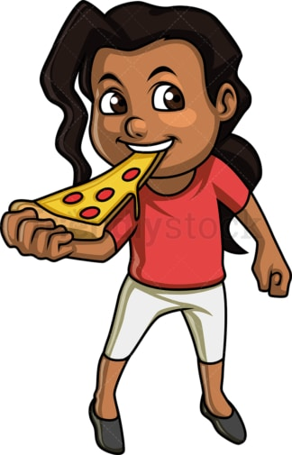 African-american female kid eating pizza. PNG - JPG and vector EPS. Isolated on transparent background.