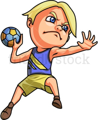 Little boy playing handball. PNG - JPG and vector EPS (infinitely scalable). Image isolated on transparent background.