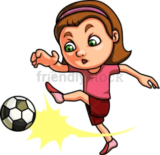 Little girl playing soccer. PNG - JPG and vector EPS (infinitely scalable). Image isolated on transparent background.
