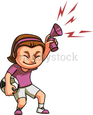 Little girl soccer fan. PNG - JPG and vector EPS (infinitely scalable). Image isolated on transparent background.