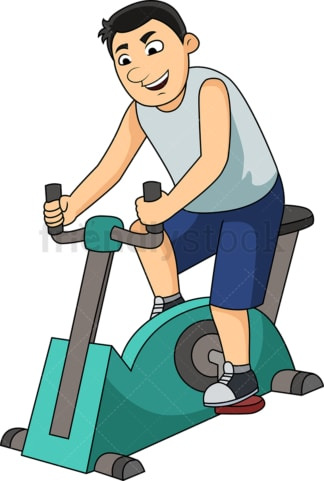 Man working out with gym bike. PNG - JPG and vector EPS file formats (infinitely scalable). Image isolated on transparent background.