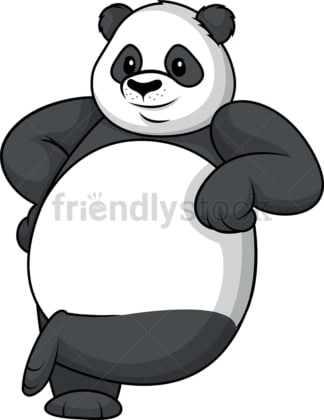 Panda leaning on logo. PNG - JPG and vector EPS (infinitely scalable).