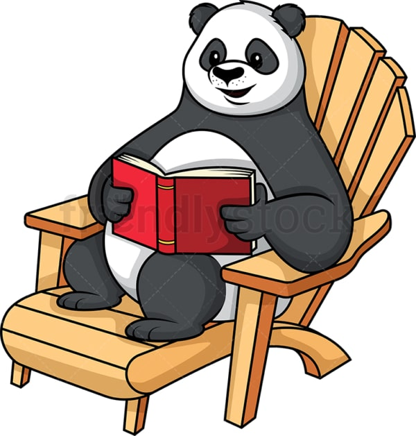 Panda reading a book. PNG - JPG and vector EPS (infinitely scalable).