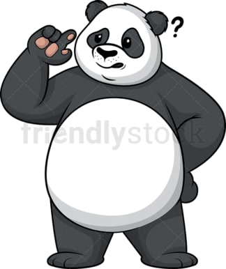 Panda thinking. PNG - JPG and vector EPS (infinitely scalable).