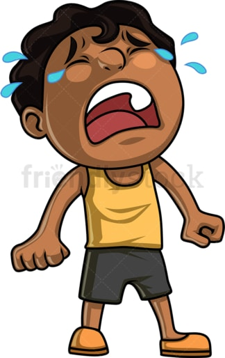 Black little boy crying hysterically. PNG - JPG and vector EPS (infinitely scalable). Image isolated on transparent background.
