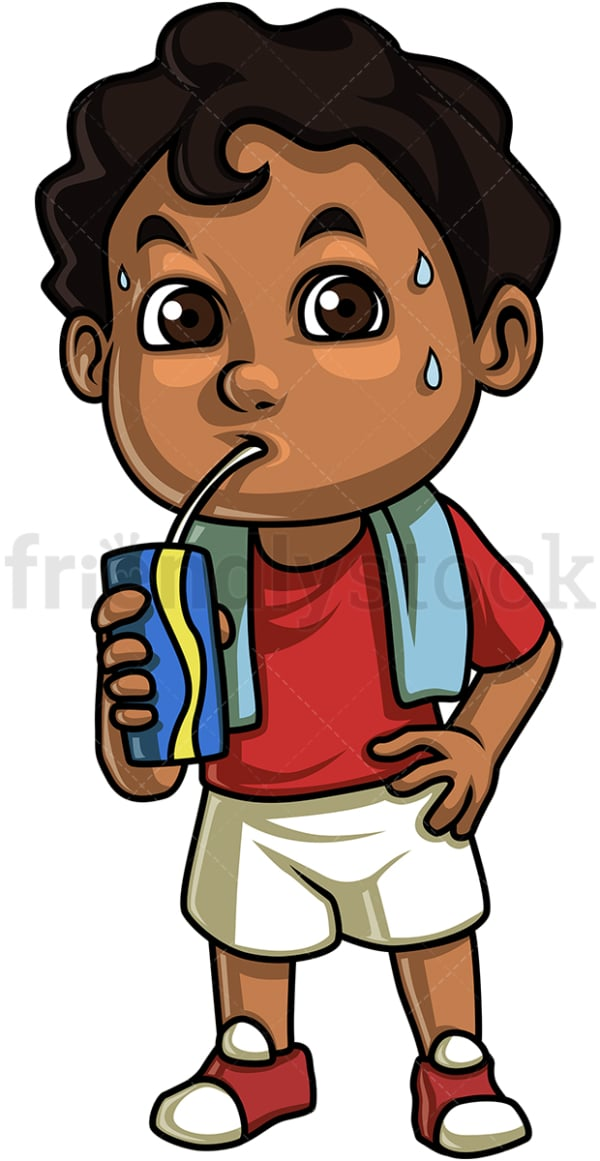 African-American kid drinking water. PNG - JPG and vector EPS. Isolated on transparent background.
