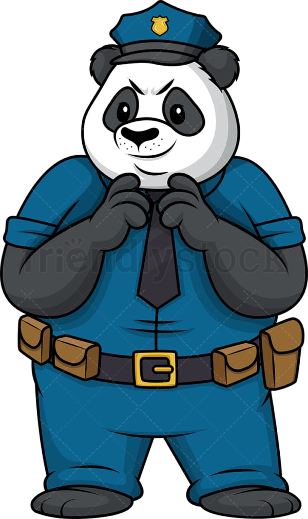 Evil panda policeman. PNG - JPG and vector EPS (infinitely scalable).