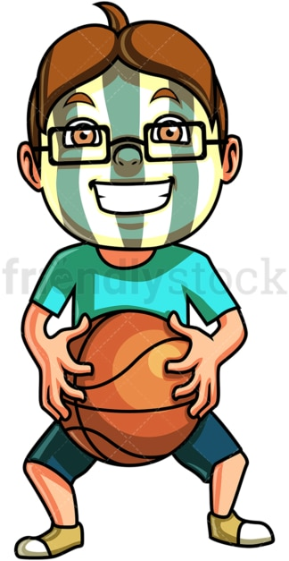 Little boy basketball fan. PNG - JPG and vector EPS (infinitely scalable). Image isolated on transparent background.