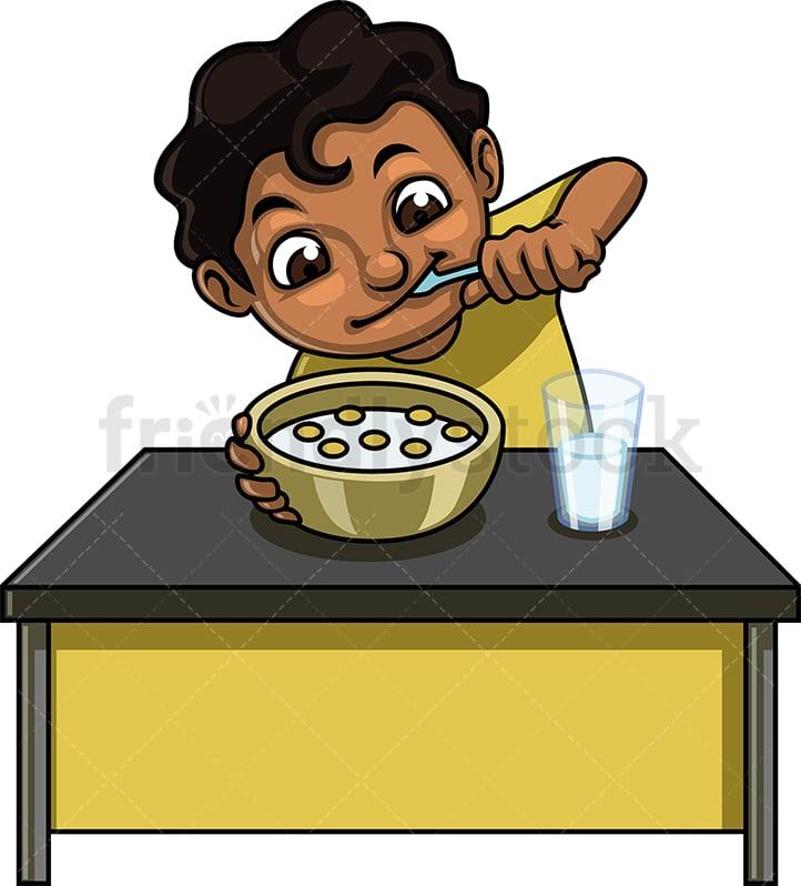 Little Boy Eating Cereal Breakfast Cartoon Clipart Vector ...