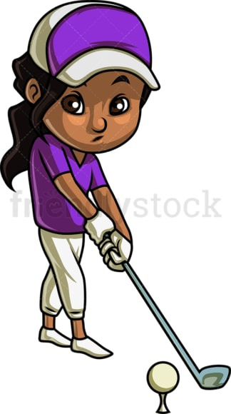 Little girl playing golf. PNG - JPG and vector EPS (infinitely scalable). Image isolated on transparent background.