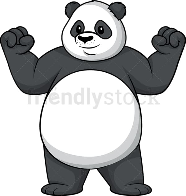 Panda flexing muscles. PNG - JPG and vector EPS (infinitely scalable).