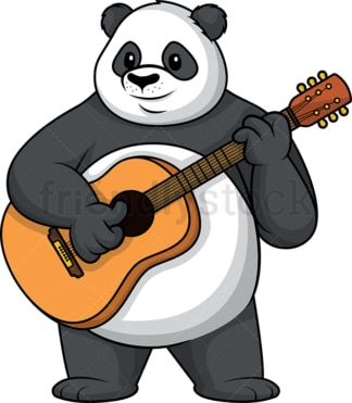 Panda playing the guitar. PNG - JPG and vector EPS (infinitely scalable).