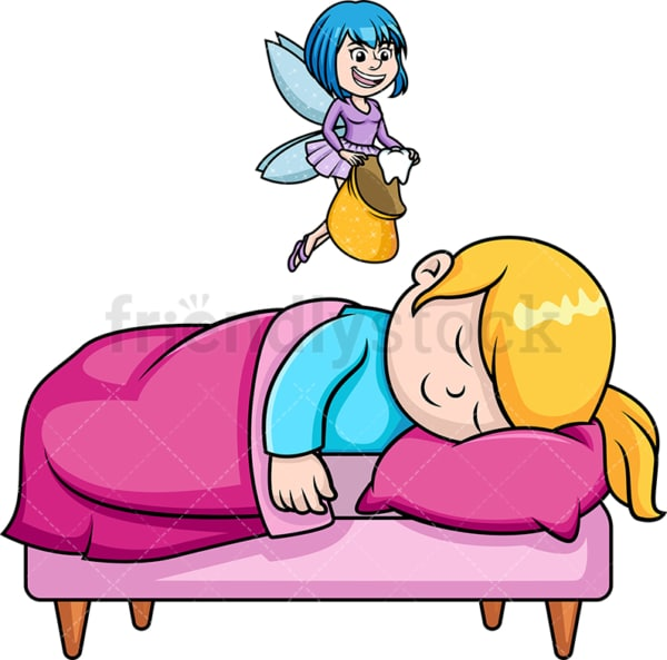 Tooth fairy visiting little girl. PNG - JPG and vector EPS (infinitely scalable).