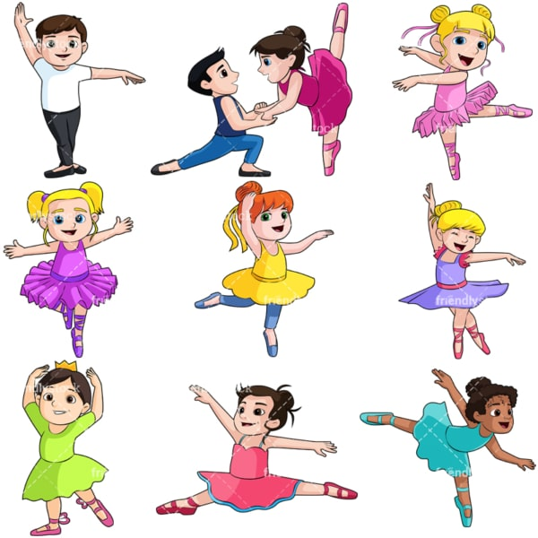Kids doing ballet. PNG - JPG and vector EPS file formats (infinitely scalable). Image isolated on transparent background.