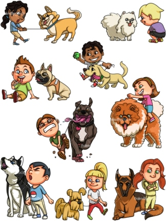 Kids with dogs. PNG - JPG and vector EPS file formats (infinitely scalable). Image isolated on transparent background.