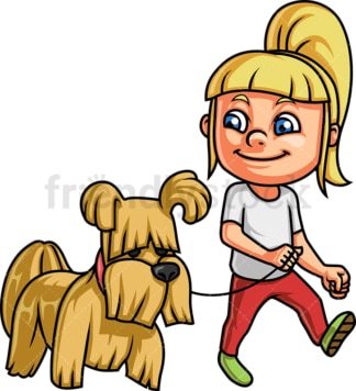 Little girl walking her dog. PNG - JPG and vector EPS. Isolated on transparent background.