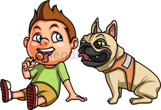 Happy kid with dog. PNG - JPG and vector EPS. Isolated on transparent background.