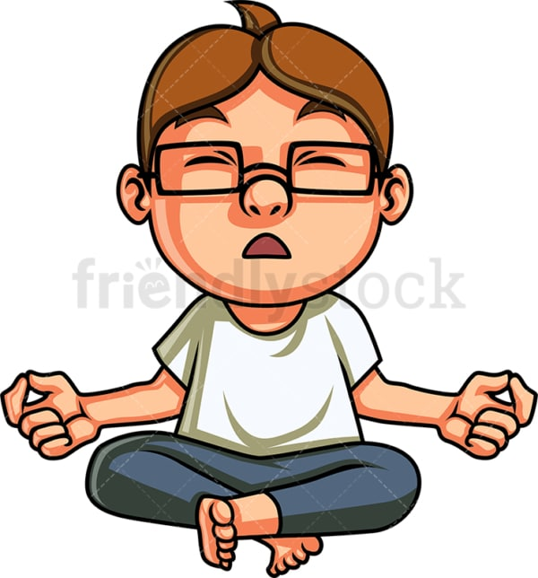 Little boy doing yoga meditation. PNG - JPG and vector EPS. Isolated on transparent background.