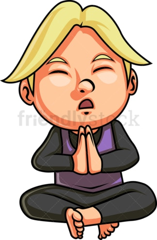 Kid praying or meditating. PNG - JPG and vector EPS. Isolated on transparent background.