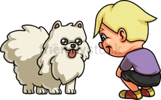 Boy with white dog. PNG - JPG and vector EPS. Isolated on transparent background.