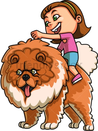 Little girl with dog. PNG - JPG and vector EPS. Isolated on transparent background.