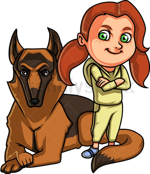 Little girl and her dog. PNG - JPG and vector EPS. Isolated on transparent background.