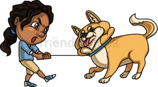 Black girl holding a dog. PNG - JPG and vector EPS. Isolated on transparent background.