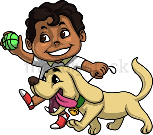 Black kid walking dog. PNG - JPG and vector EPS. Isolated on transparent background.