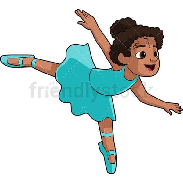 Black little girl ballet dancer. PNG - JPG and vector EPS file formats (infinitely scalable). Image isolated on transparent background.