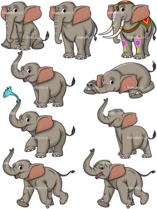 Elephant vector collection. PNG - JPG and vector EPS file formats (infinitely scalable).