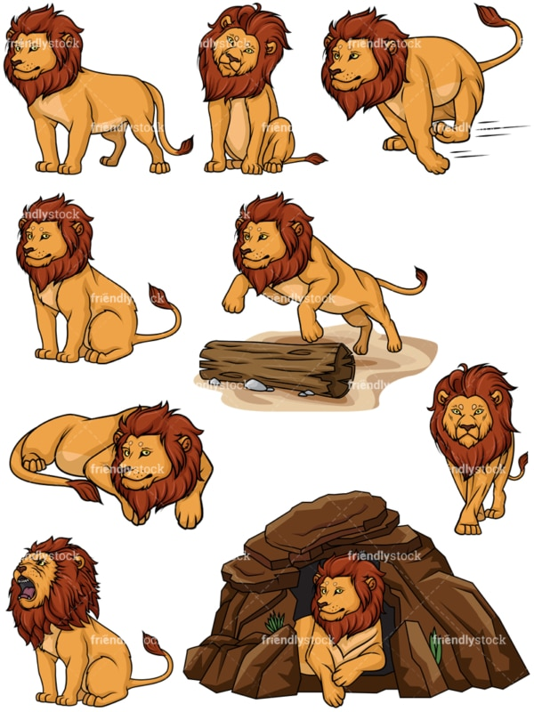 Lion vector collection. PNG - JPG and vector EPS file formats (infinitely scalable).