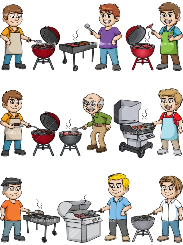 Men cooking barbecue. PNG - JPG and vector EPS file formats (infinitely scalable). Image isolated on transparent background.
