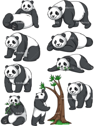 Panda bear vector collection. PNG - JPG and vector EPS file formats (infinitely scalable).