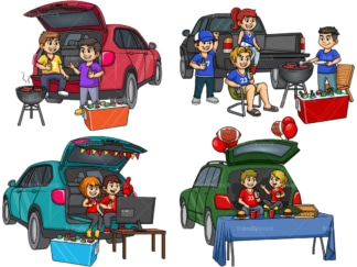 People tailgating. PNG - JPG and vector EPS file formats (infinitely scalable).