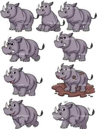 Rhinoceros vector collection. PNG - JPG and vector EPS file formats (infinitely scalable).