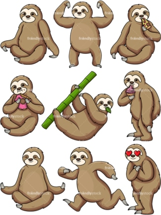 Sloth cartoon character. PNG - JPG and vector EPS file formats (infinitely scalable).