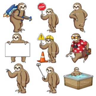 Sloth character. PNG - JPG and vector EPS file formats (infinitely scalable).