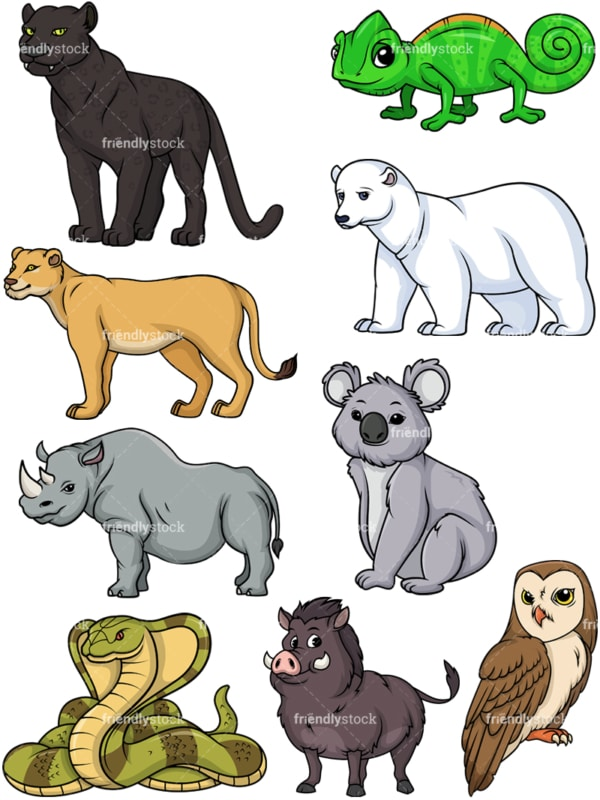 Wild animals 4. PNG - JPG and vector EPS file formats (infinitely scalable).