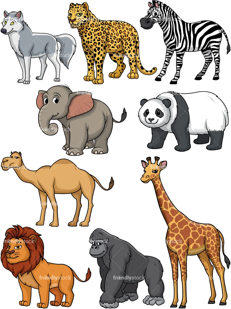 Wild Animals Cartoon Vector Clipart Friendlystock