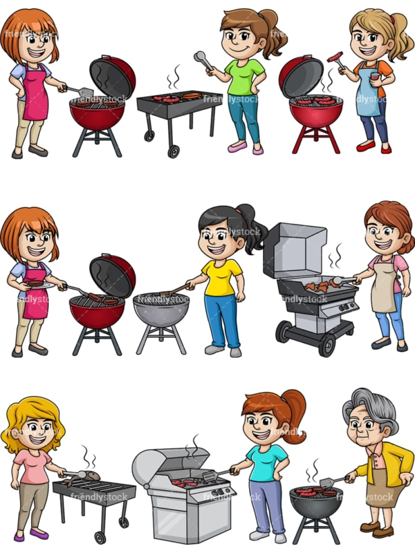 Women cooking barbecue. PNG - JPG and vector EPS file formats (infinitely scalable). Image isolated on transparent background.