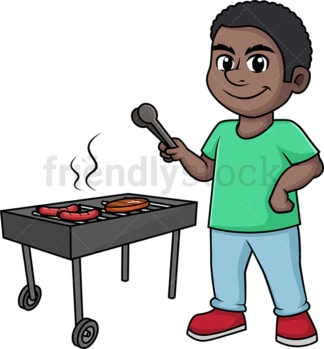 Black man cooking bbq. PNG - JPG and vector EPS (infinitely scalable). Image isolated on transparent background.