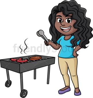 Black woman cooking bbq. PNG - JPG and vector EPS (infinitely scalable). Image isolated on transparent background.