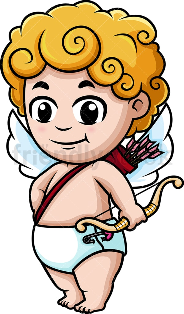 Cute cupid holding bow. PNG - JPG and vector EPS (infinitely scalable).