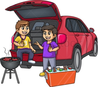 Friends tailgating. PNG - JPG and vector EPS (infinitely scalable).
