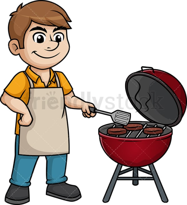 Man grilling beef burgers. PNG - JPG and vector EPS (infinitely scalable). Image isolated on transparent background.