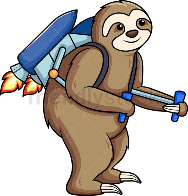 Sloth wearing jetpack. PNG - JPG and vector EPS (infinitely scalable).
